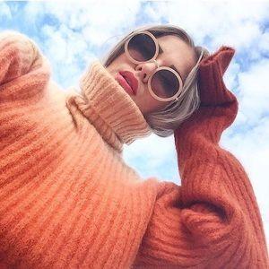 H&M STUDIO ribbed cozy orange mohair turtleneck